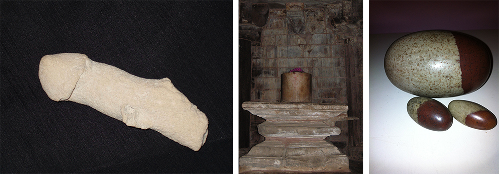Koraal Lingam, Shiva Linga in Khajuraho en spekstenen Linga. Privé collectie Peter.